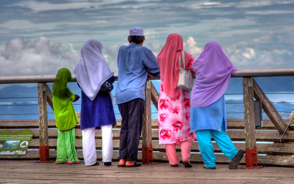 A Malay family at the top of a mountain on the island of Langkawi